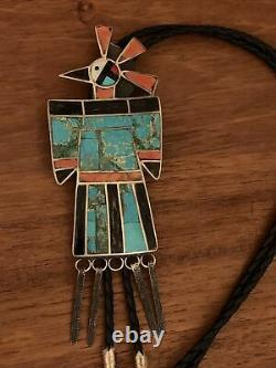 Premier Grand Argent Sterling Turquoise Coral Thunderbird Bolo Tie Amérindienne