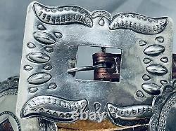 Premier Outillé Main Vintage Navajo Pièce / Argent Sterling Concho Ceinture Vieux
