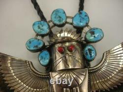 Premier Pion Grand Sterling Silver Turquoise Coral Eagle Kachina Bolo Tie Navajo