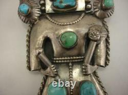 Premier Pion Grand Sterling Silver Turquoise Coral Kachina Bolo Tie Ram Buffalo
