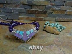 Premier Ray Tracey Couteau Wing Navajo Turquoise Amythest Sterling Bib Collier Colar