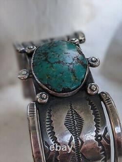 Premier Signe Navajo Ingot Argent Turquoise Stampwork Cuff Bracelet Old Native