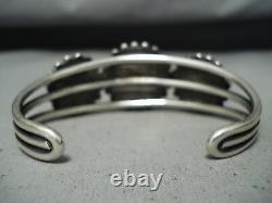 Premier Triple Bouton Vintage Navajo 3 Sterling Silver Domes Bracelet