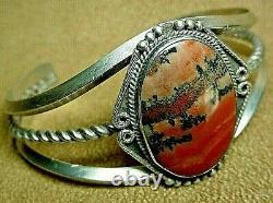 Premier Vintage Navajo Argent Sterling Grand Dramatique Bracelet De Cuff En Bois Pétifié