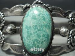 Premier Vintage Navajo Carico Lac Turquoise Bracelet En Argent Sterling Vieux