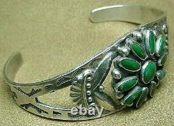 Premier Vintage Navajo Sterling Argent Petit Point Turquoise Stamped Cuff Bracelet