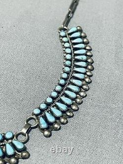 Premier Vintage Zuni Blue Gem Turquoise Petit Point Collier Argent Sterling