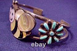 Premier Zuni Plus Charmant Bumble Bee Inlay Turquoise Sterling Bracelet