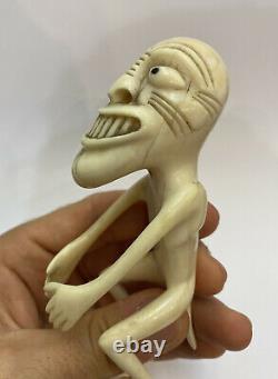 Première Figure Inuite Tupilak, Os De Poisson, Qualité Muséo