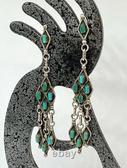 Premières Boucles D'oreilles Zuni Southwestern Sterling Silver Turquoise Petit Point Dangle