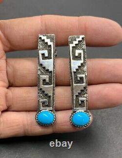 Premiers Tommy Jackson Signé Navajo Sterling Silver Turquoise Drop Dangle Boucles D'oreilles