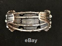 Publié Début Navajo Argent Et Turquoise Cluster Bracelet, 1930