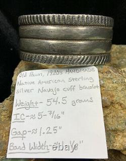 Qualité Du Musée! Bracelet De Manchette Sterling Silver Handmade Des Années 1920 Au Début Des Années 1920