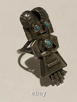 Qualité Tôt Kachina! Vintage Navajo Snake Eyes Bague En Argent Sterling Turquoise