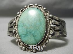 Rare 1900 Au Début Navajo Vintage Carico Lake Turquoise Bracelet En Argent Sterling