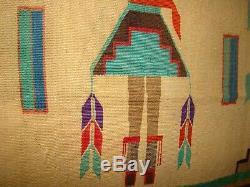 Rare Antique Navajo Sandpainting Yei Tapis, Native American Early Tissage 44x56