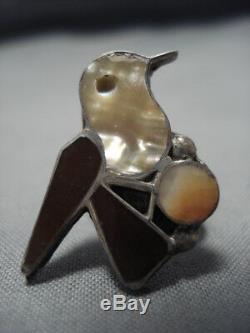 Rare Début 1900 Vintage Zuni Marqueté En Argent Sterling Bague Oiseau Vieux