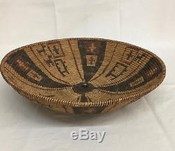 Rare, Début Amérindien Yavapai / Western Apache Polychrome Panier -circa 1890
