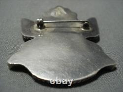Rare Début Des Années 1900 Vintage Zuni Turquoise Coral Sterling Silver Pin Old