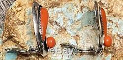 Rare Début Des Années 1950. Frank Patania Sr Main Grand Sterling Gem Corail Rouge Boucles D'oreilles
