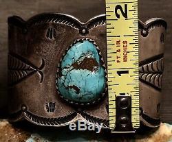 Rare Early Main Forgé Lingot Argent Monnaie Gem Turquoise Bracelet 121g Signe