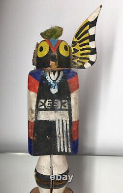 Rare Early Owl Sun-face Stamp Kachina Hopi Route 66 Native American Wood Carve