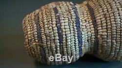 Rare Et Inhabituel Début 1900 Amérindien Salish Pot Entièrement Imbriquent Panier