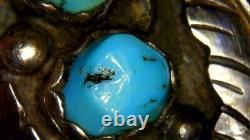 Rare Julian Julian Arviso Navijo Anneau Turquoise & Sterling Silver Taille 9 Vieux Pawn