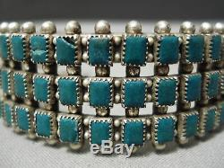 Rare Vintage Early Navajo Squared Turquoise Bracelet En Argent Sterling Vieux