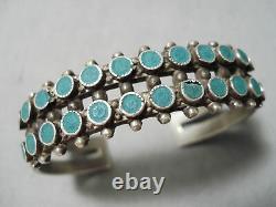 Rare Vintage Early Zuni Navajo Vert Turquoise Serpent Bracelet En Argent Sterling