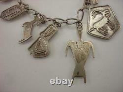 Ray Tracey Knifewing Navajo 10 Bracelet De Charme Argent Sterling Vtg Début Des Années 1980