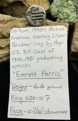 Rayons! Au Début Des Années 1940, Hopi Everett Harris Anneau De Renne En Argent Sterling, 6,6g
