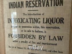 Réservation Indian Early Warning Authentique Tissu Signe Ségrégation Antique Rare
