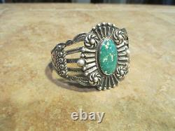 Scarce Early Fred Harvey Era Navajo 900 Coin Silver Turquoise Design Bracelet