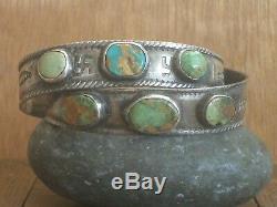 Scarce Paire Early Southwest Indian Argent Turquoise Bracelets De Pion De Lingot De