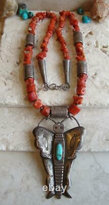Signé Tôt Tony Aguilar Sr. Kewa Collier Sterling/coin Silver-turquoise-coral