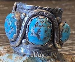 Super Rare Début Zuni Dan Simplicio Massive Sterling & Turquoise Snake Ring 32g