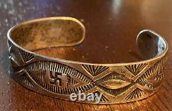 Superbe Bracelet Log Whirling Silver Whirling Silver De Navajo Précoce Fred Harvey Era Avant Les Années 1930