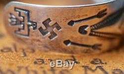 Superbe Début Navajo Tourbillonnant Log En Argent Sterling Bracelet
