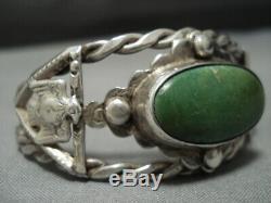 Thunderbird Cerrillos Turquoise Bracelet En Argent Sterling De Début 1900