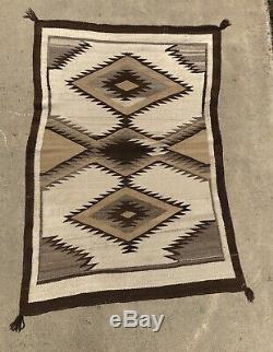 Tot Antique Navajo Rug Native American Tissage C 1900 1910 52 X 37