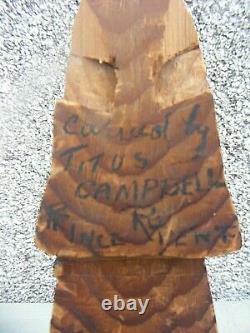 Totem Pole Antique Sculpté Titus Campbell Pièce Précoce