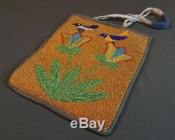 Très Beaux Début Des Années 1900 Plateau Native American Perlée Sac 2 Oiseaux Sur Les Fleurs
