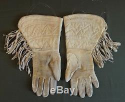 Très Fin 1900 Début Amérindien Cree Métis Brodé Gauntlet Gants