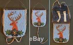 Très Fin 1900 Début Amérindien Nez Perce Perlé Hardened Pochette En Cuir