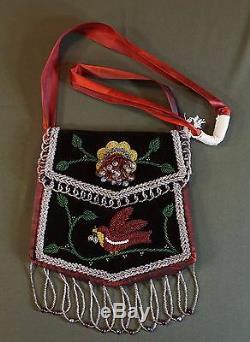 Très Fin Début Des Années 1920 Amérindien Iroquois Wabanaki Mohawk Sac Perlé