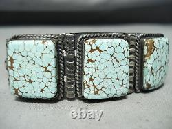 Très Rare Début De Dépôt # 8 Turquoise Vintage Navajo Bracelet En Argent Sterling