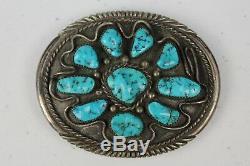 Très Tôt Navajo En Argent Sterling Turquoise Cluster Boucle De Ceinture