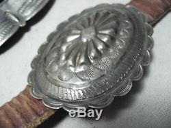 Très Tôt Old Vintage Navajo En Argent Sterling Main Tooled Concho Ceinture