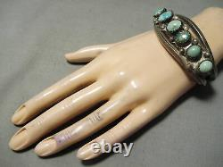 Très Tôt Vintage Navajo Cerrillos Turquoise Bracelet En Argent Sterling Vieux